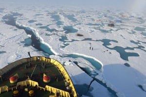 The evacuation of the drifting scientific seasonal station the North Pole on the Captain Dranitsyn ice breaker, August 2015 in Murmansk region, Russia.