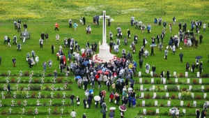 Guests gathered at Thiepval's Cross of Sacrifice