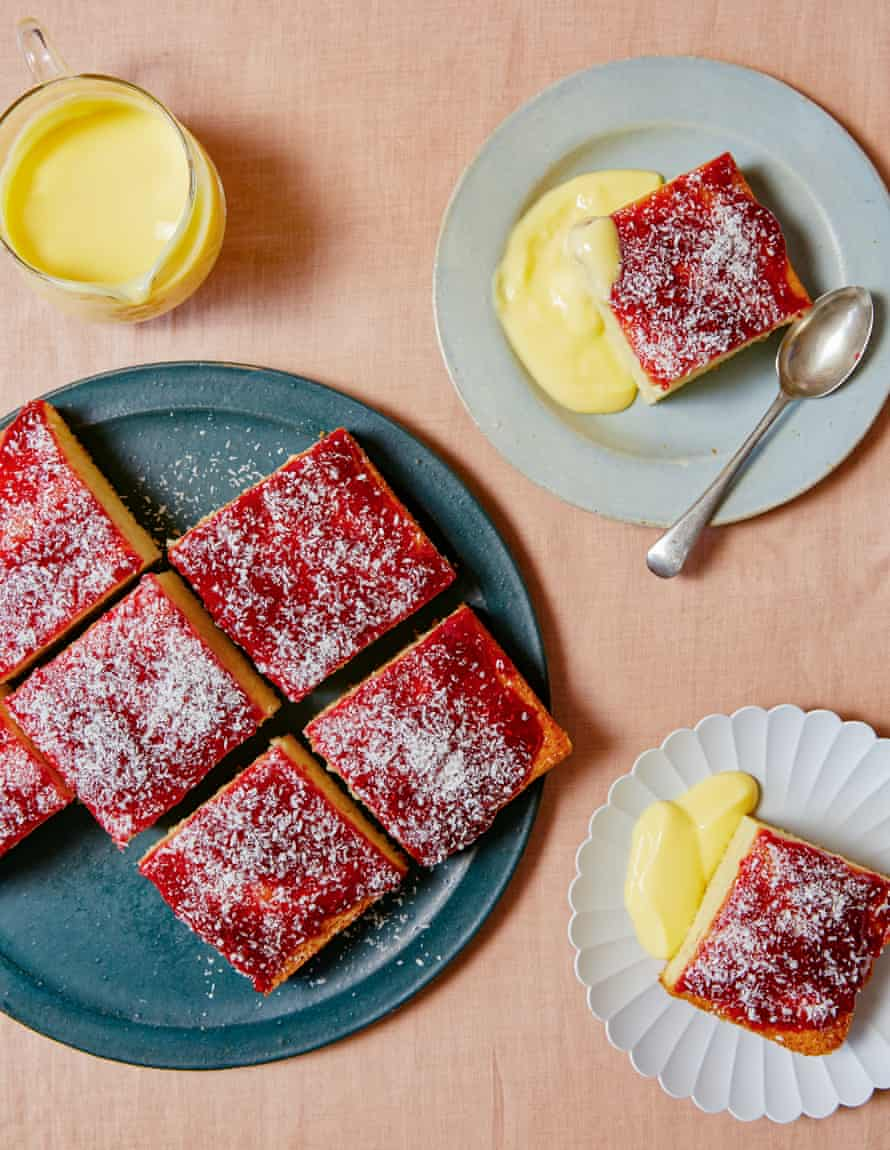 Ravneet Gill's vanilla sponge with jam and coconut.