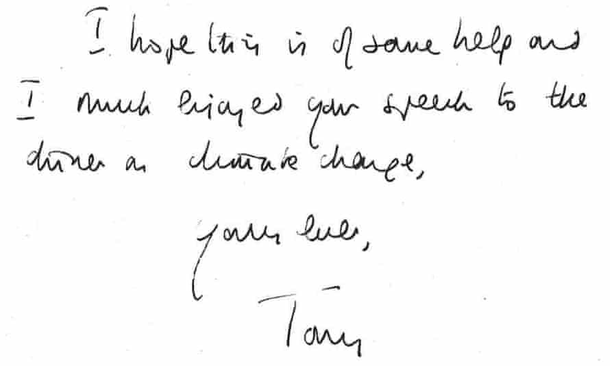Prince Charles Letters - signoff from Tony Blair
