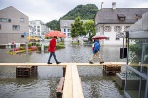 The flooded village square of Stansstad on Lake Vierwaldstättersee, Switzerland