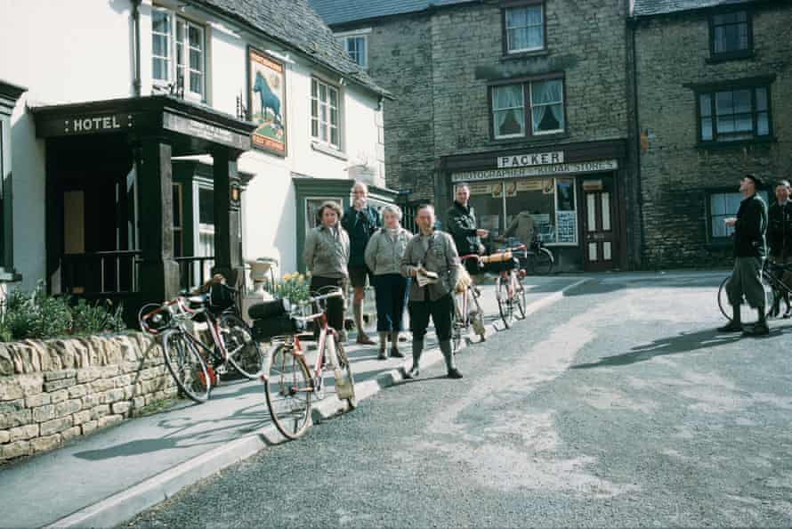 A group poses for pictures outside the Blue Boar in Chipping Norton, Easter 1959