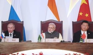 Vladimir Putin, Narendra Modi and Xi Jinping at a meeting of the Brics leaders in Goa.