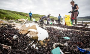 A beach clean on Isle of Eigg, Scotland. Some 20% of the litter was packaging from single-use plastic items.