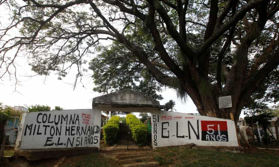 Graffiti for the ELN is seen at the entrance of the cemetery of El Palo, Cauca, Colombia, on 10 February 2016.