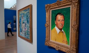 A Norman Rockwell portrait of Frank Sinatra on display at Sotheby's in New York.