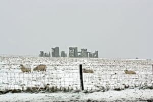 Snow capping Stonehenge, near Salisbury, Wiltshire.