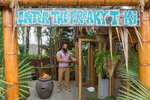 Pub/Entertainment category, Chris Smith (Northamptonshire) with The Reef Cavern A sign reading 'Enter The Freaky Tiki' greets visitors to this unique beach bar, which has a roped entrance with palm leaves and a bead curtain leading into the shed. Chris Smith has given this shed a real holiday vibe after he and his wife were kept too busy to go on holiday
