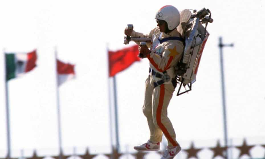 Rocket man … Bill Suitor demonstrates his jet pack at the 1984 Olympic Games, Los Angeles.