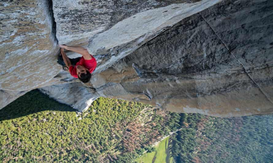 Sheer thrills … Alex Honnold climbing El Capitan without a rope, in the film Free Solo.