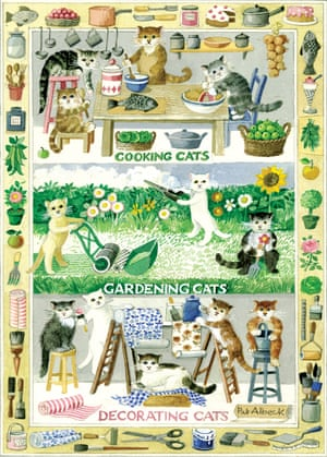 The cats tea towel designed by Pat Albeck for the National Trust in 1990