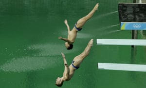 Britain's Jack Laugher and Chris Mears compete during the men's synchronized 3m springboard diving final