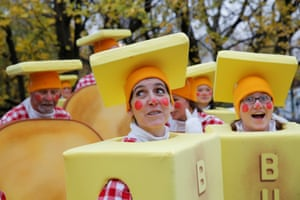 Clowns dressed as sticks of butter wait to set off
