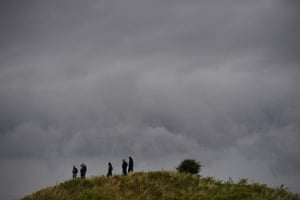 Spectators watch the action under cloudy skies at Birkdale.