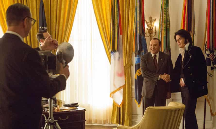 Close encounter of the mutually uncomprehending kind … Spacey and Shannon in Elvis & Nixon.