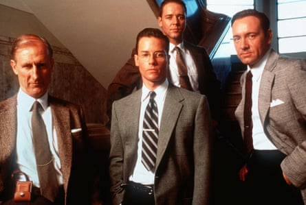James Cromwell with Guy Pearce, Russell Crowe and Kevin Spacey in LA Confidential, 1998.