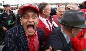 Cancer survivor Peter Piras, part-owner of Redzel, celebrates winning the Everest horse race at Randwick racecourse in Sydney.