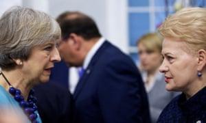 Theresa May with Lithuanian president Dalia Grybauskaitė at the European Union summit in Malta last week
