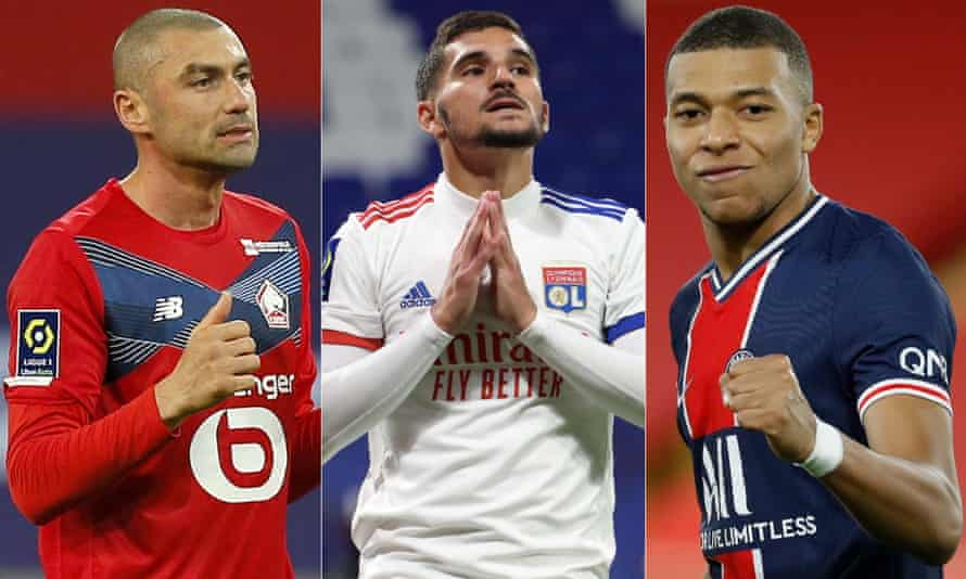 Lille's Burak Yilmaz, Houssem Aouar of Olympique Lyon and Paris St Germain's Kylian Mbappe.