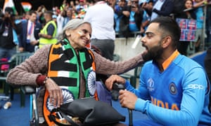 Virat Kohli shares a moment with Charulata Patel after seeking out the 87-year-old super-fan in the stand at the end of India's victory against Bangladesh at Edgbaston