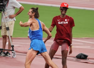 Gianmarco Tamberi of Italy and Mutaz Essa Barshim of Qatar opt to share the gold medal in the men's high jump final after tying for first place in Tokyo, Japan.