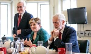 Labour's Jeremy Corbyn, Emily Thornberry and John McDonnell