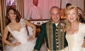 Elizabeth Hurley, Sir Philip Green and Jacqui Caring