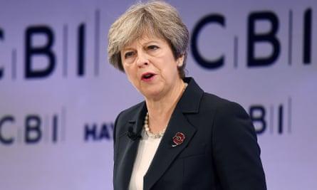 Theresa May at the annual CBI conference.