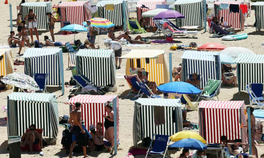 People on a beach in France