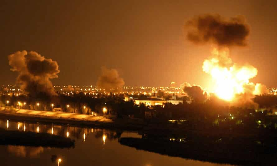 Baghdad under attack at the start of the Iraq war in 2003.