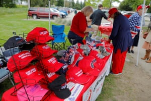 Hats supporting Donald Trump are displayed for sale at the Chicken Burn, a picnic gathering of Republicans and conservatives, in Milwaukee in September.