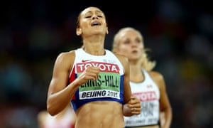 Jessica Ennis-Hill crosses the finish line to win the Women's Heptathlon 800 metres along with the overall Heptathlon gold.