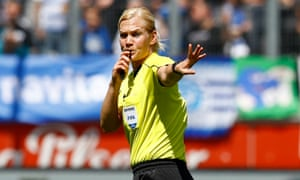 Bibiana Steinhaus officiates at the league match between MSV Duisburg and FSV Zwickau on Saturday in Duisburg, Germany