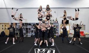 The Unity Allstars practise their cheerleading moves.