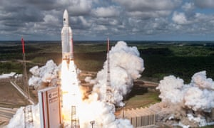 An Ariane 5 rocket with a payload of four Galileo satellites lifts off from the European Spaceport in French Guiana on June 22 2017
