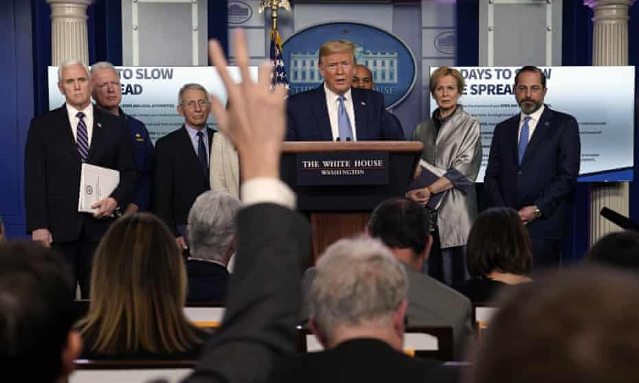 Donald Trump speaks during a press briefing with the coronavirus task force, at the White House on Monday.