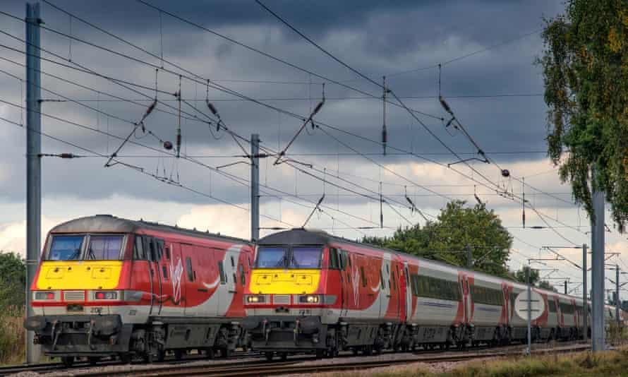 two Virgin rail trains