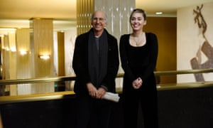 Host Larry David with Musical Guest Miley Cyrus at 30 Rockefeller Plaza.
