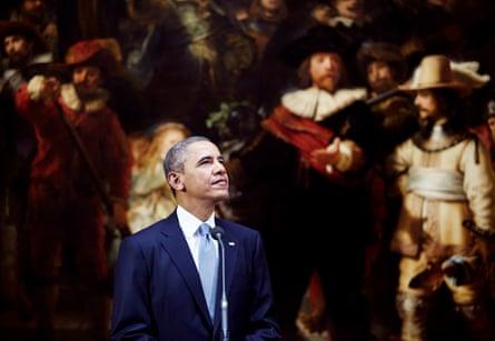 Barack Obama visting the Night Watch in 2014