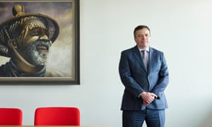 Arron Banks in the boardroom at his office in Bristol last month.