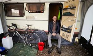 Tim Jones in his caravan