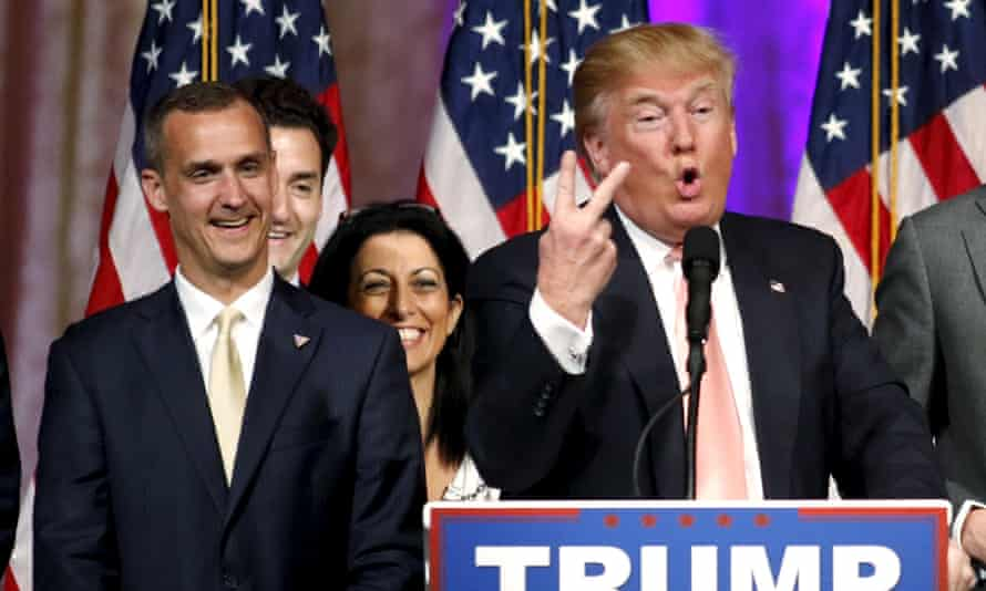 Donald Trump speaking in Florida alongside campaign manager Corey Lewandowski, on his left.