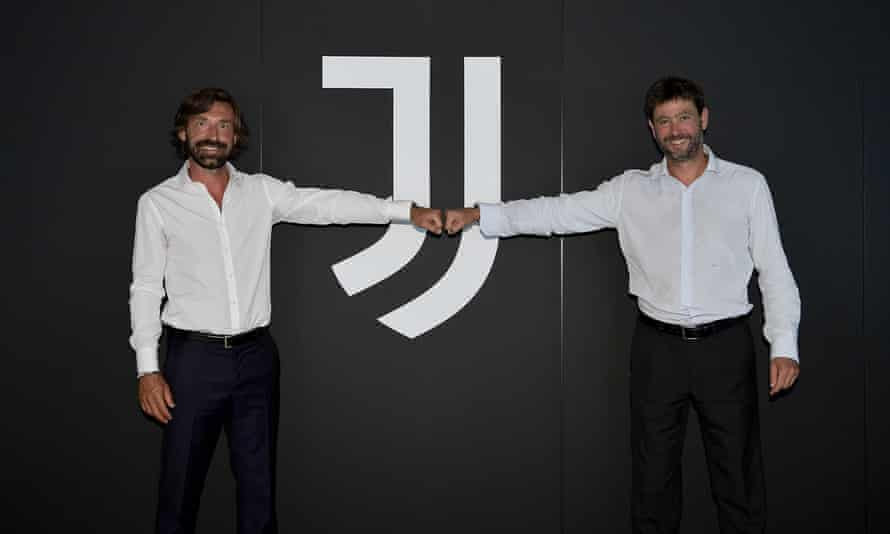 Andrea Agnelli poses with Andrea Pirlo at the inauguration of the Juventus coach last July.