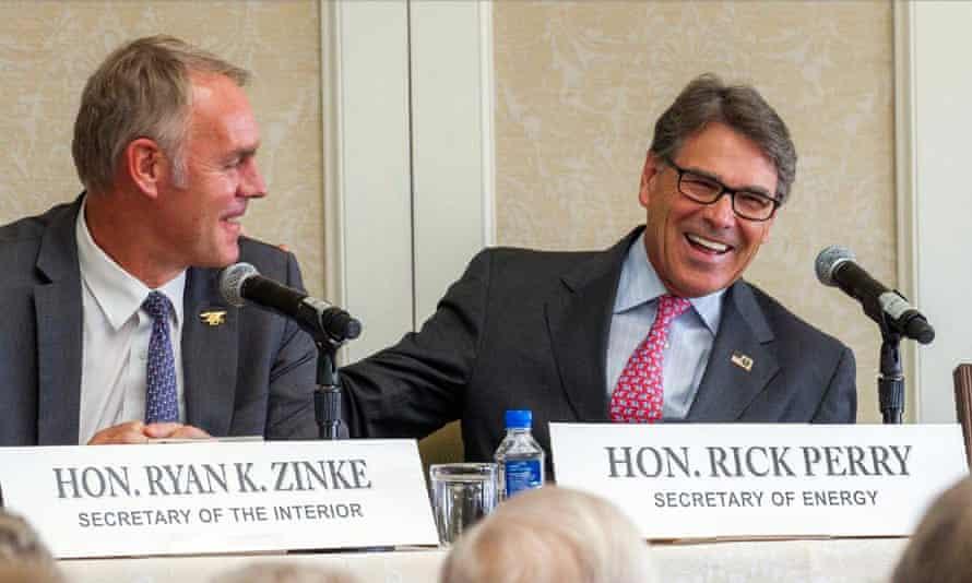 Ryan Zinke and Rick Perry: close allies.