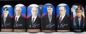 Russian traditional wooden matryoshka dolls showing President Vladimir Putin