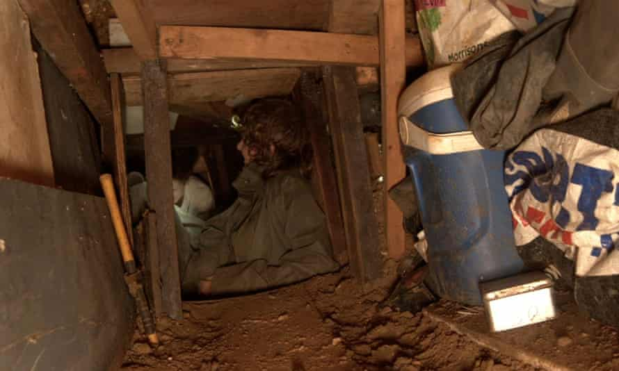 An undated picture released by HS2 Rebellion shows activists in the tunnel under Euston Square Gardens