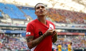 Paolo Guerrero of Peru celebrates after scoring his team's second goal.
