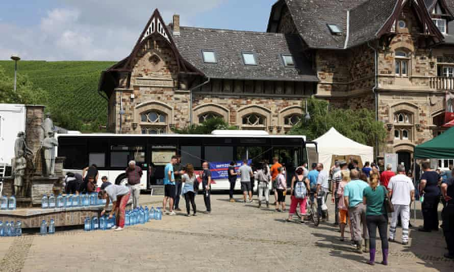 People queue for vaccinations in Bad Neuenahr-Ahrweiler, Germany