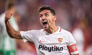 A jubilant Jesús Navas celebrates after Sevilla's derby win over Betis.