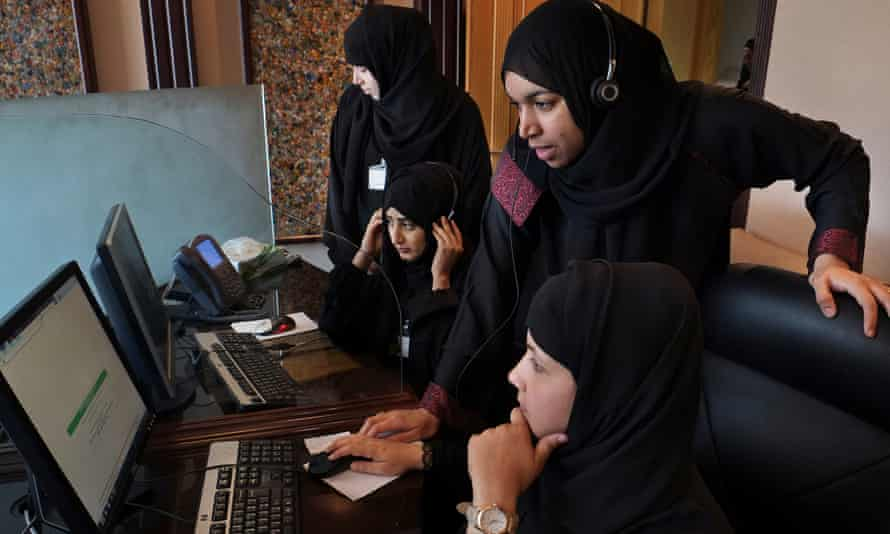 Sheikha Radia and her fellow experts man the phone line